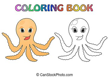 octopus - Fanny octopus coloting book with color simple