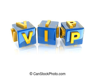cube word quot;VIPquot; - cube word VIP rotating on white...