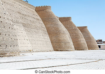 Bukhara - The Ark wall, a massive fortress located in the...