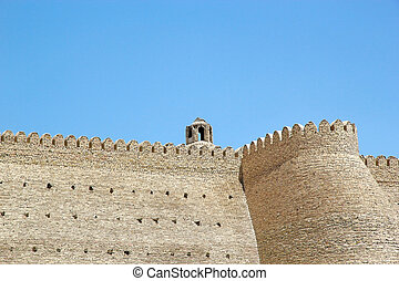 Bukhara - Details of the Ark wall, a massive fortress...