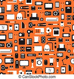 Seamless pattern of electronic devices and home appliances...