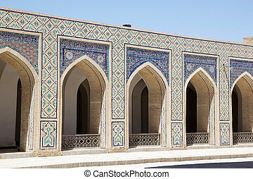 Bukhara - Architecture details at the Kalyan Mosque at the...