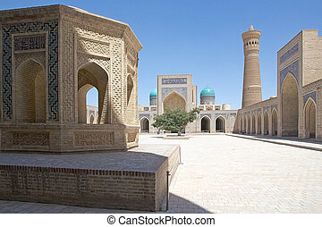 Bukhara - Courtyard of the Kalyan Mosque at the Poi-Kalyan...