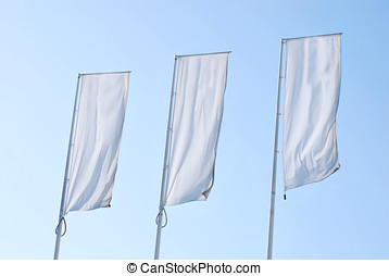 three empty banners - Empty banners over the sky. Blank...