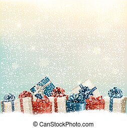 Holiday Christmas background with a border of gift boxes...