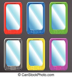smartphone set - vector set of isolated colorful smartphones...