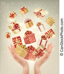 Christmas gold background with gift boxes and hands. Vector...