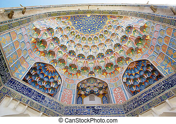 Bukhara - Architecture details of the portal of the Abdul...