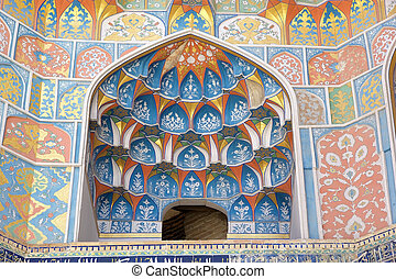 Bukhara - Architecture details of the Abdul Aziz Khan...