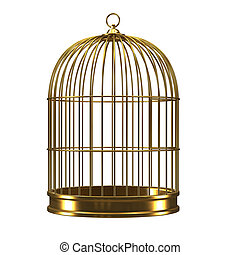 3d Gold birdcage - 3d render of a golden birdcage