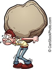 Heavy burden - Man carrying a heavy burden, a huge rock...