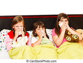 Hard Nose Blowing - Sick little girls suffering from bad...