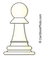 Whites Pawn - Pawn chess piece over a white background
