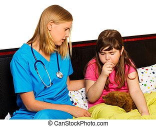 Little Patient With Severe Cough - Doctor examining her...