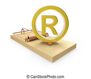 3d Gold registered symbol on mousetrap - 3d render of a gold...