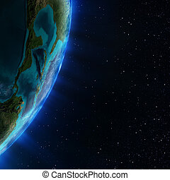 Central America. Elements of this image furnished by NASA