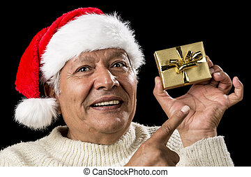 Aged Man With Emphatic Look And Golden Gift - Smiling old...