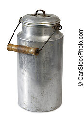 Milk can - Close-up of a milk can of aluminium - isolated on...