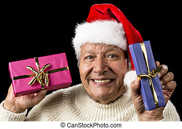 Lighthearted, Smiling Old Man Offering Two Gifts - Gently...