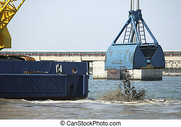 Harbor Dredging - Dredging in a Industrial Harbor near...