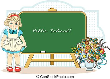 girl near school blackboard