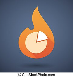 Flame icon with a pie chart