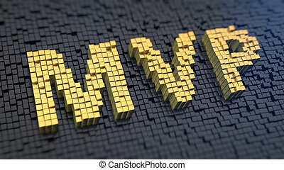 MVP cubics - Acronym 'MVP' of the yellow square pixels on a...