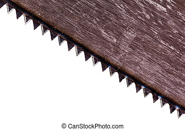 Saw blade - detail of a hand saw blade isolated over a white...