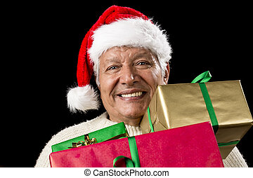 Jolly Old Man With Santa Cap And Three Xmas Gifts -...