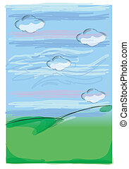 hill - green hill and blue sky with cloud