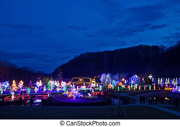 Village in Christmas lights blue hour view