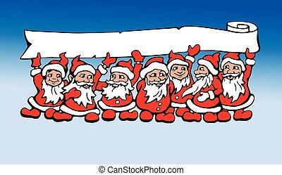 Vector seven Santas graphic