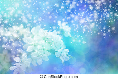Sparkling Blue Blossom Wedding Bann - Sparkling Blue Bokeh...