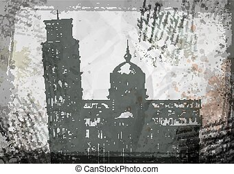 Italy. Pisa tower sketch vector illustration