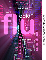 Flu influenza word cloud glowing
