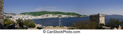 Bodrum Bay - Panorama of the bay in Bodrum, Turkey from the...