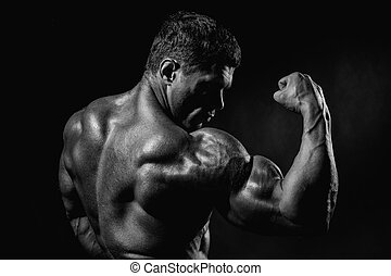 Strong Athletic Man Fitness Model Torso showing big muscles....