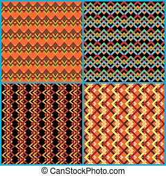 Four seamless patterns on ethnic motifs - Four different...