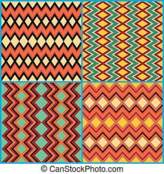 Four seamless ornamental patterns on ethnic motifs - Four...