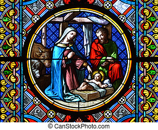 BASEL, SWITZERLAND - November 3, 2014: Nativity Scene....