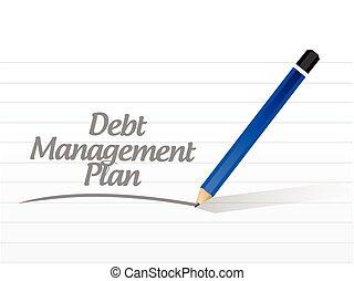 debt management plan message illustration design over a...