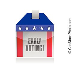 early voting ballot box illustration