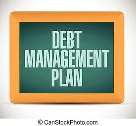 debt management plan sign illustration design over a white...