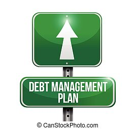 debt management plan sign illustration design over a white...
