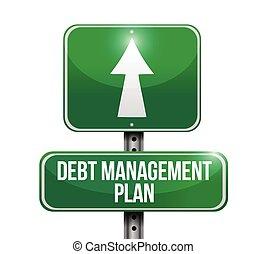 debt management plan sign illustration