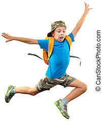 shouting jumping boy isolated over white - full length...