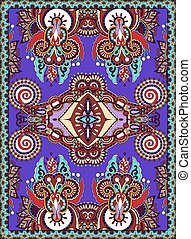 violet colour ukrainian floral carpet design for print on...