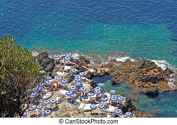 Beach in Capri - Aerial View of a Beach in Capri full of...