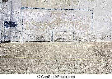 futbol, metas, dibujado, en, Un, pared,