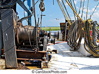 Shrimp Boat Deck - Close up of mechanical shrimp boat...